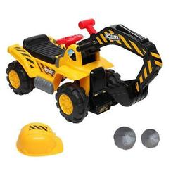 Ride On Excavator Digger Scooter Pulling Cart Pretend Play C