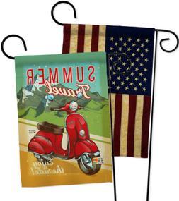 Summer Scooter Travel -USA Vintage - Applique Garden Flags P