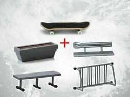 Fingerboard With Rail Finger Skate Board Park Ramp Parts Sco