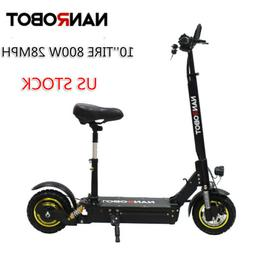 US Ship NANROBOT Electric Scooter D3 with Seat 10'' 800W Fol